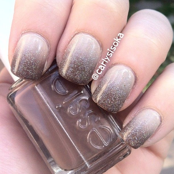 Neutral gradient - Essie Sand Tropez and Mink Muffs topped by China Glaze Fairy Dust