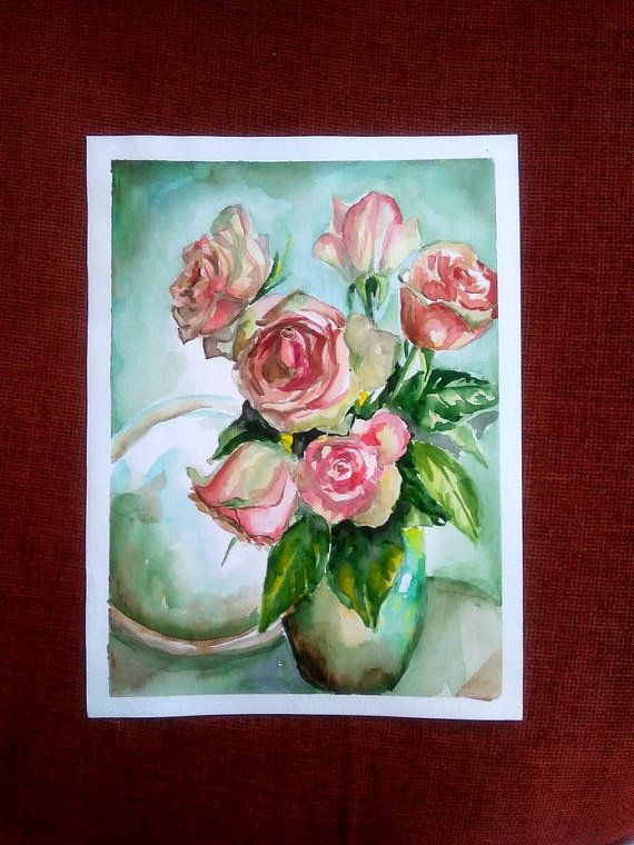 Roses Floral still life Bouquet of roses by PaintingByAHeart