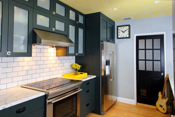 Unique, contemporary kitchen design in blue. #interiors #interiordesign #decor #kitchen www.porch.com