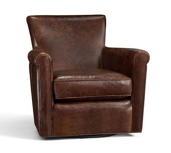 Irving Leather Swivel Armchair 1 950 87 Pottery Barn
