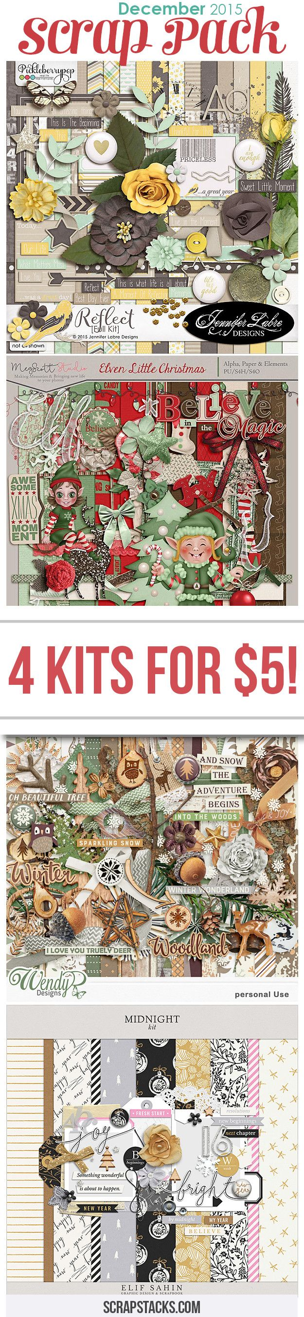 The December 2015 Scrap Pack is HERE! Get these 4 delightful kits for just $5! :)