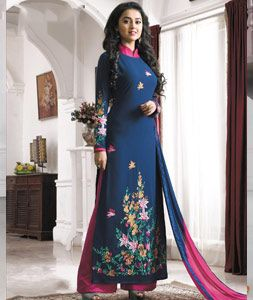 Buy Blue Faux Georgette Palazzo Style Suit 71260 online at lowest price from huge collection of salwar kameez at Indianclothstore.com.