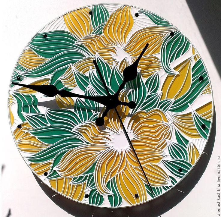 """Купить Часы настенные """"Цветы солнца"""" - разноцветный, часы, часы настенные, часы из стекла"""