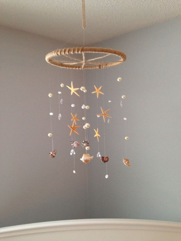 Seashell Mobile, Shell Mobile, Starfish Mobile, Pearl Mobile, Crystal Mobile, Beach Mobile, Nautical Mobile by MaviSellsSeashells on Etsy https://www.etsy.com/listing/222015100/seashell-mobile-shell-mobile-starfish