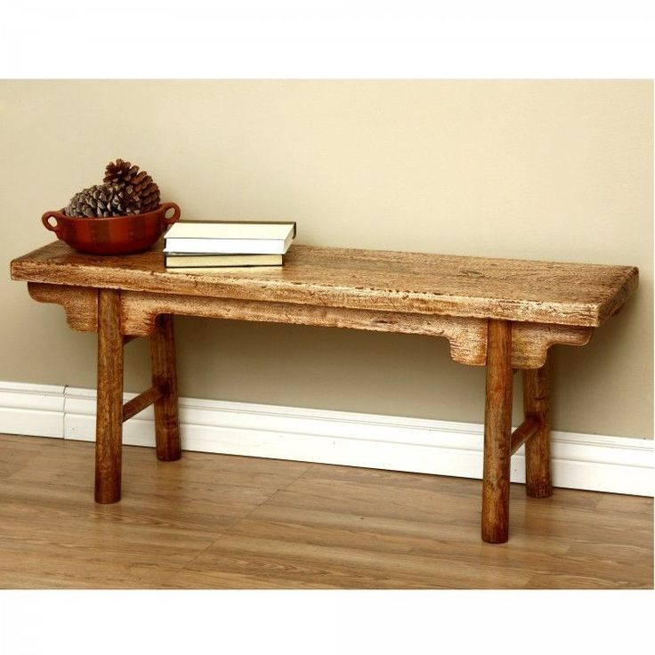 Rustic Wooden Bench Handmade Solid Wood Furniture Kitchen Dining Room Seat Brown #Handmade #Country