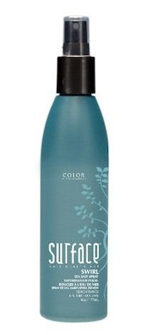 Surface SWIRL Sea Salt Spray Beach Waves Texture Volume 5oz (177ml) by Surface. $20.74. Surface Swirl Sea Salt Spray Beach Waves Texture Volume 5 oz (177ml). Ocean salts and citrus fruits combine to create tousled beach waves and wind blown volume. This must-have styling product can be used on dry hair to create volume and texture or on wet hair to add body and soft waves. For unbelievable volume, apply to wet or dry hair and diffuse. Swirl Sea Salt Spray also color-...