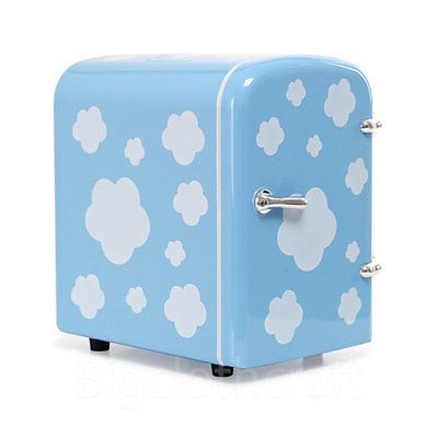 New Portable Refrigerator 4 Liter Mini Cooler & Warmer, Cosmetic Fridge Sky Blue