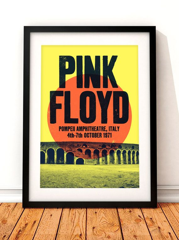 Pink Floyd concert poster, Pink Floyd print, music inspired print, concert print, Pink Floyd, Pink Floyd poster, Pompeii