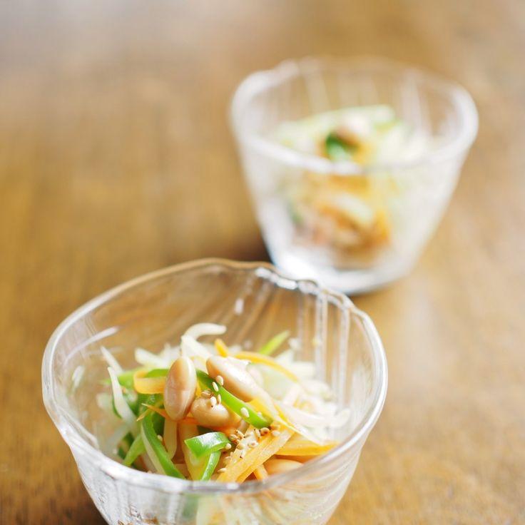 もやしと大豆のナムル 味付けに少量のナンプラーを使った、さっぱり味のナムルです。