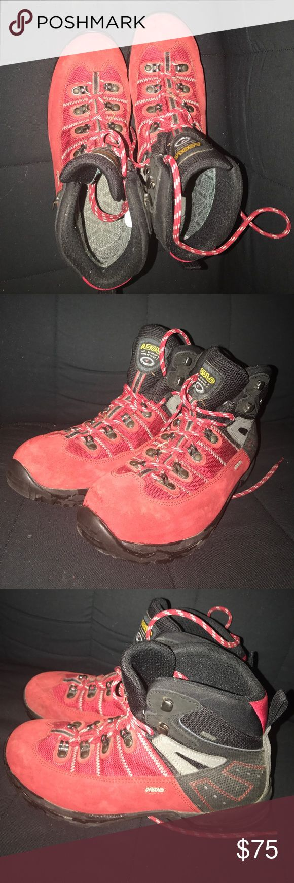 Asolo hiking-winter-snow boots red Suede sz 6 2/3 40 European size. 6 2/3 American men size. Worn lightly so no wear & tear   Red Suede with wool lining. Warm and good slip proof for snow. Asolo Shoes Boots