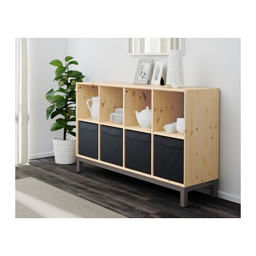 Norn s sideboard basic unit pine gray pine gray ikea for Pine sideboard ikea