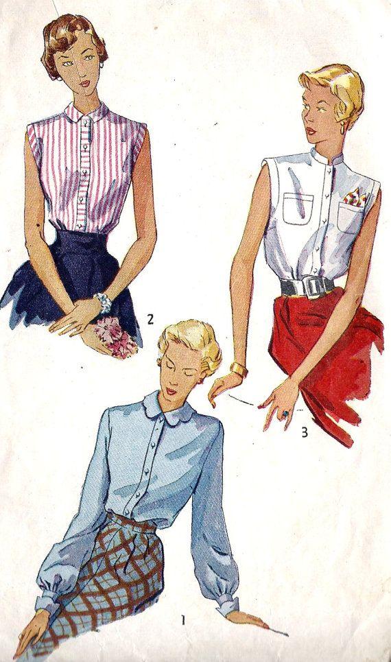 1940s manca pulsante frontale camicetta con 3 di MissBettysAttic