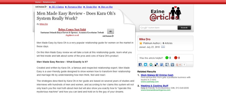 Men Made Easy Review - Does Kara Oh's System Really Work? --> http://ezinearticles.com/?Men-Made-Easy-Review---Does-Kara-Ohs-System-Really-Work?=6202561