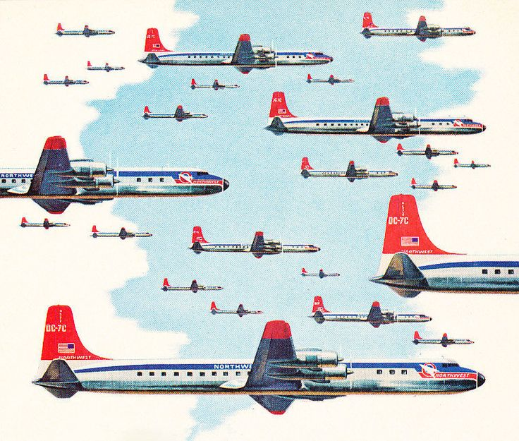 I've always admired those vintage illustrated ads; This is one is from 1957 for the Northwest Airlines Fleet.