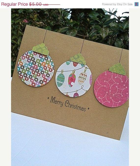 ON SALE Ornament Card - Paper Handmade Christmas Cards - Handmade Holiday Cards…