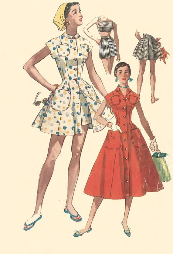 Vintage 1950\'s Sewing Pattern Rockabilly Dress or Beachwear Bra ...