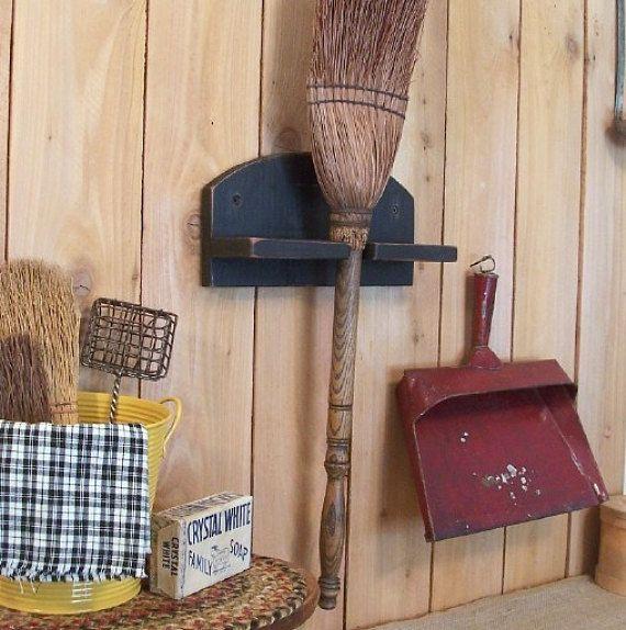 Primitive Farmhouse Broom Holder Bracket Utility by Sawdusty, $25.00