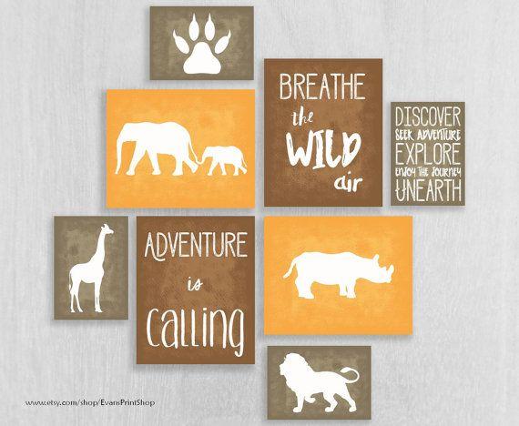 Safari Nursery Art Prints Set of 8 - Adventure Nursery Art - Elephants, Rhino - Childrens Art Print - Explore, Discover - Safari Decor