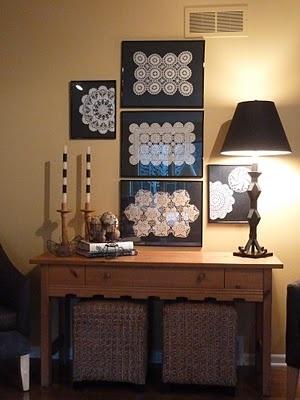 Room RX: Framed Doily Gallery  I found an idea for the precious doilies I have!!