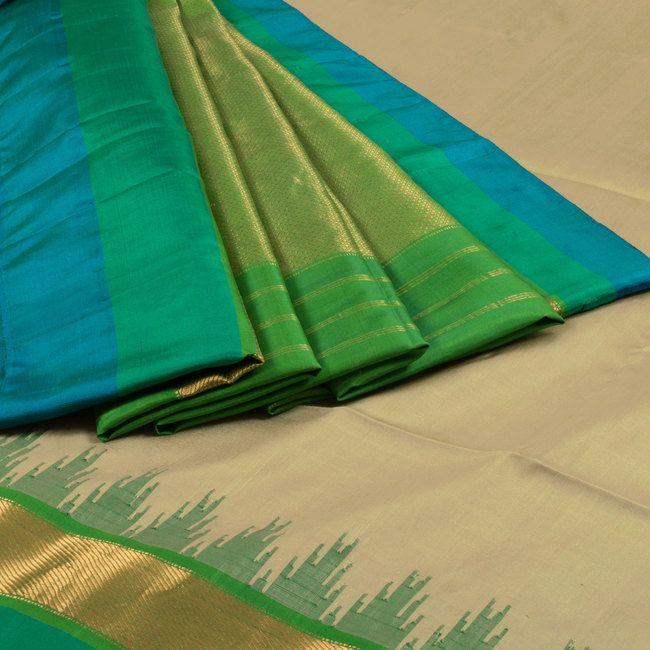 Venkie Reddy Ecru Brown & Forest Green Handwoven Gadwal Kuttu Weave Silk Saree with Temple Zari Border 10002130 - AVISHYA