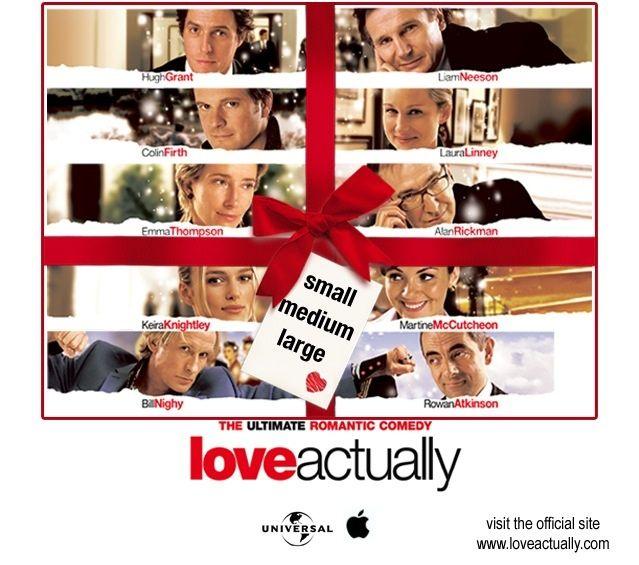 Love Actually (2003). Cast: Alan Rickman as Harry, Emma Thompson as Karen, Hugh Grant as David, Keira Knightley as Juliet, Colin Firth as Jamie, Lúcia Moniz as Aurélia, Liam Neeson as Daniel.