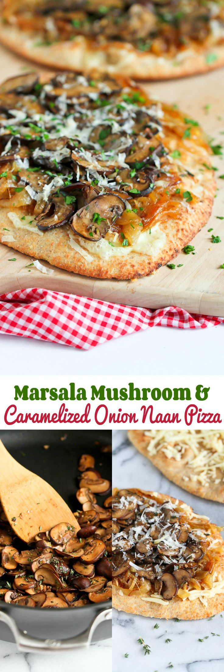 Marsala Mushroom and Caramelized Onion Naan Pizza…Marsala, thyme, sweet onions and melted cheese makes for one tasty pizza! 389 calories and 9 Weight Watchers PP | cookincanuck.com #recipe (Melted Cheese Snacks)