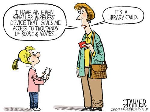 Library Card editorial cartoon by Jeff Stahler, Columbus Dispatch.