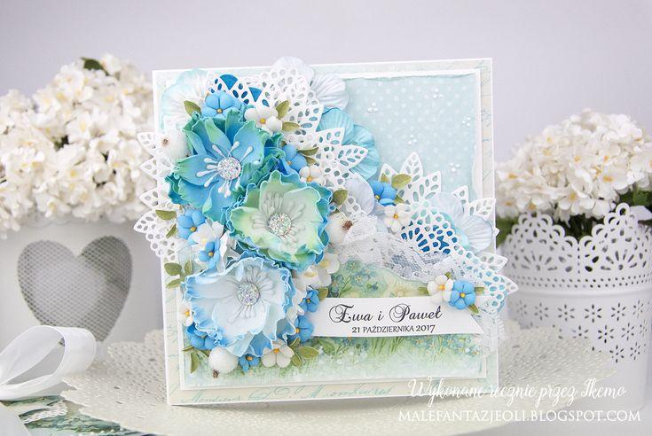 Przychodzę dziś do Was z delikatną kartką z niezapominajkami które wykonałam z nowego zestawu wykrojników kwiatowych nr 7 . Duże kwiaty ...