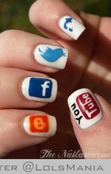 Love these nails featuring social networking