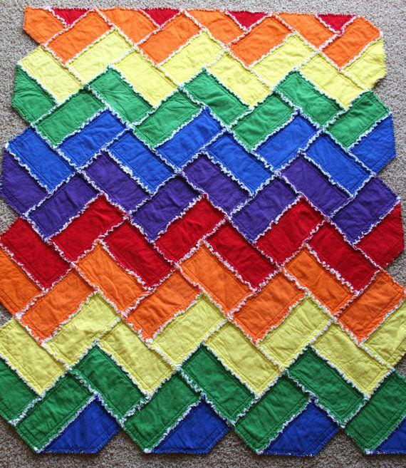 Rainbow Chevron Flannel Rag Quilt by MichelleMRohrer on Etsy