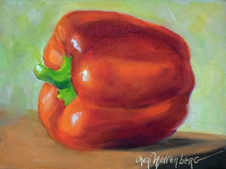 Red Bell Pepper,Food Still Life Painting, Original Canvas Art by Cheri Wollenberg by OilPaintingsByCheri on Etsy