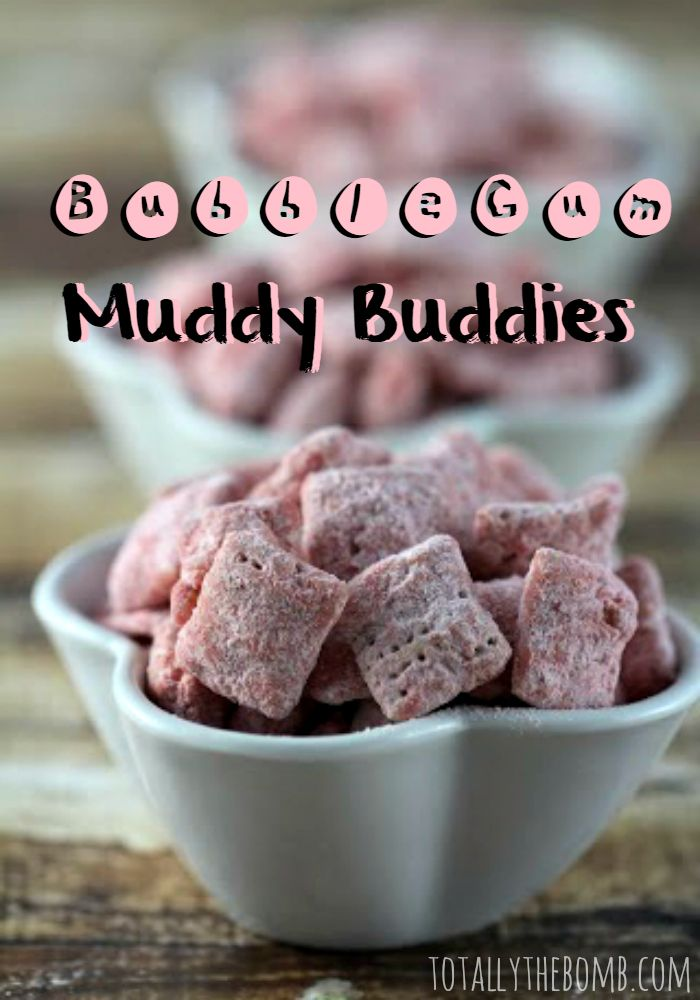 Bubble Gum Muddy Buddies are a staple for sleep-overs in my household. The kids love munching on them, but more than that, they love making them.