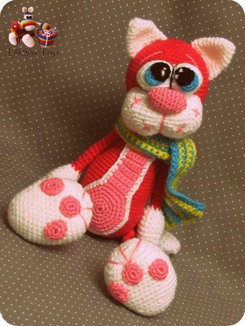 Crochet toy Amigurumi Pattern Cherry Cat por LilikSha en Etsy
