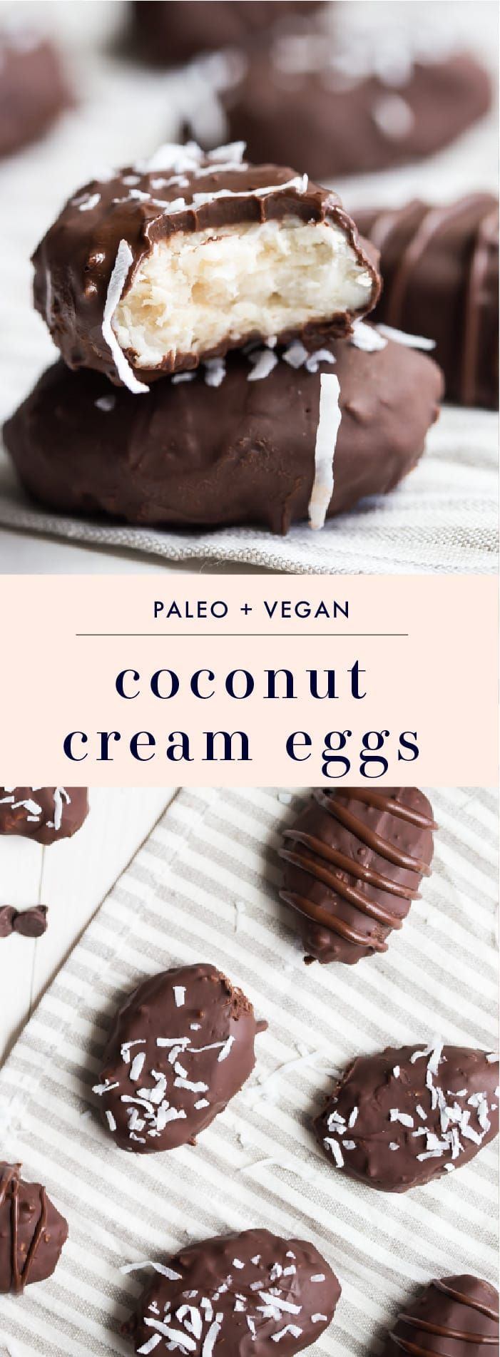 These paleo coconut cream eggs are the perfect paleo Easter treats. Rich and sweet, these vegan Easter eggs are made with only healthy ingredients. Easter is definitely better with paleo coconut cream eggs, right? You'll love these paleo Easter treats because they're simple but delicious!