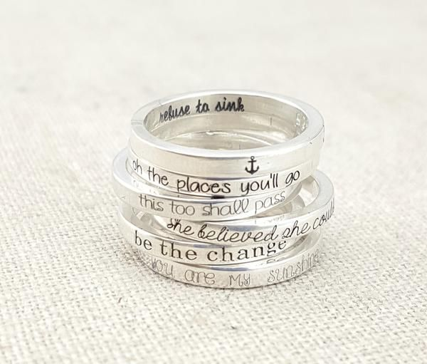 These thin inspirational stacking rings are the perfect gift for a new grad or someone who just needs a little inspiration! These thin rings (2mm wide) stack ve