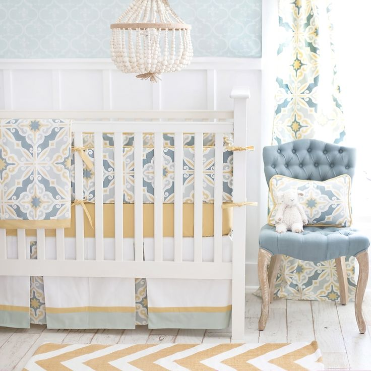 harbor coast gold crib bedding set
