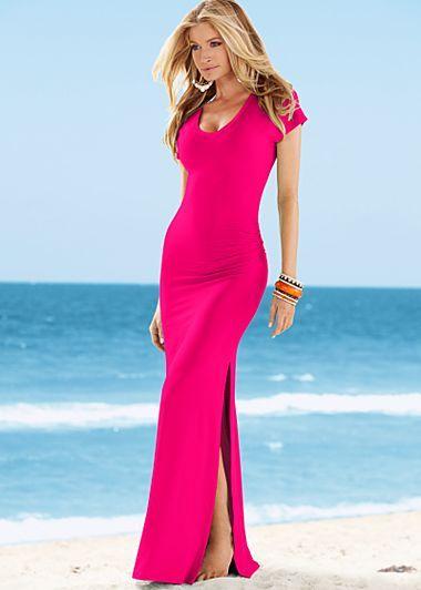 V-neck maxi dress in Fuchsia Raspberry at Venus.com