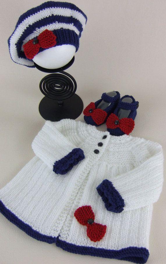 #Baby Girls #Sweater Set Hand #Knitted by #PreciousNewbornKnits #etsy