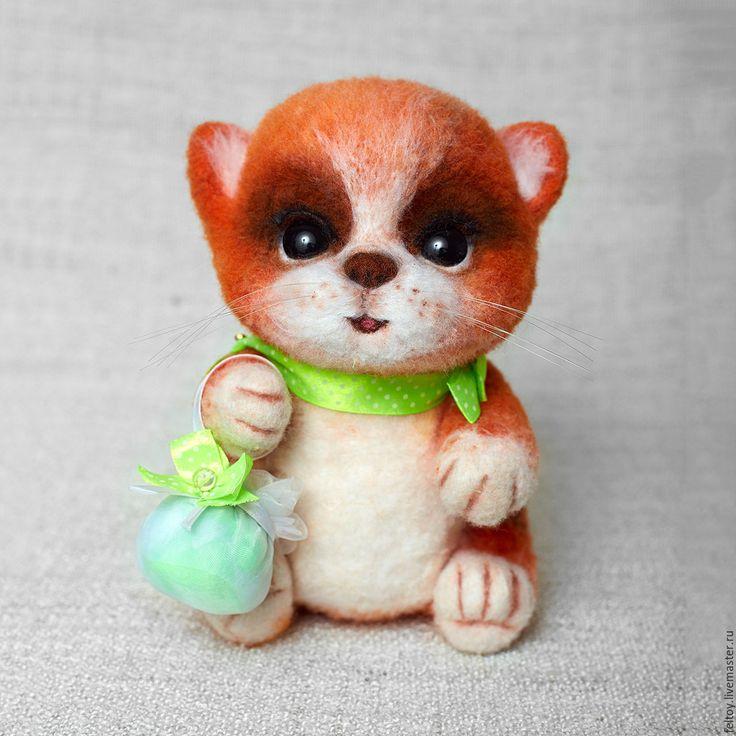 Купить Агнешка - котенок из натуральной шерсти - рыжий, Валяние, подарок, подарок девушке