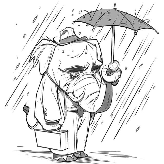 Late night doodle: Elephant guy stuck in the rain