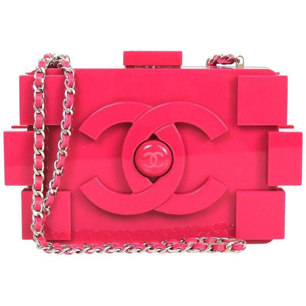 Preowned Chanel Fuschia Hot Pink Plexiglass 2014 Lego Pink Clutch found on Polyvore featuring bags, handbags, clutches, pink, red purse, red leather handbag, red handbags, red leather purse and genuine leather handbags