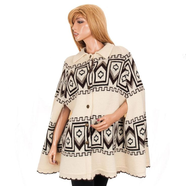 Vintage Sakowitz Southwestern Indian Blanket Cape Sweater ...