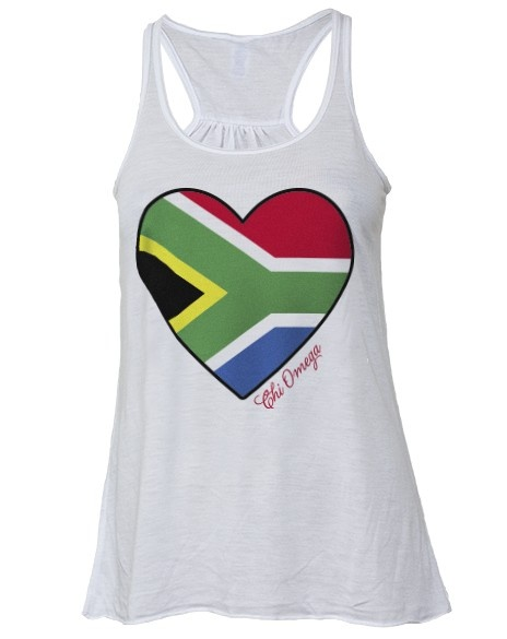 Chi Omega and the South African flag for my boyfriend!