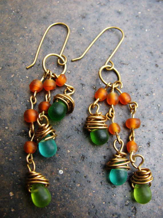 Handmade Wire Wrapped Glass Teardrop Beads Brass Orange