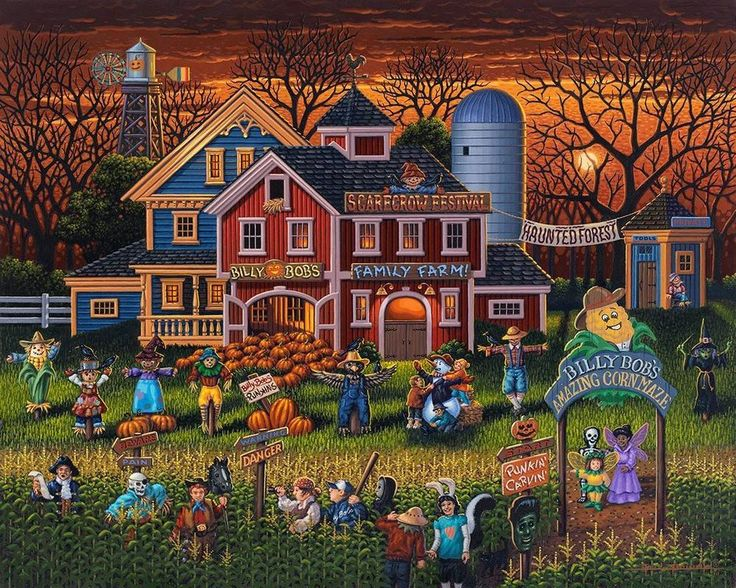 Fall Scarecrow Wallpaper Dowdle Folk Art Collectors Jigsaw Puzzle Scarecrow
