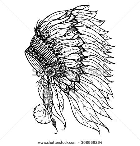 Doodle headdress for native american indian chief isolated ...