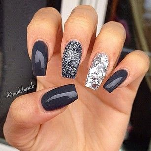 nailsbysab - charcoal gray nails with glitter nails #graynails