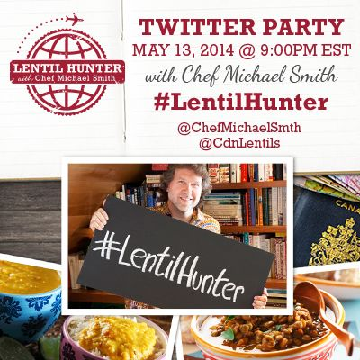 Lentil Hunter Twitter Party with Chef Michael Smith Tuesday May 14, 2014 9:00pm EST (400 x 400 pixels)