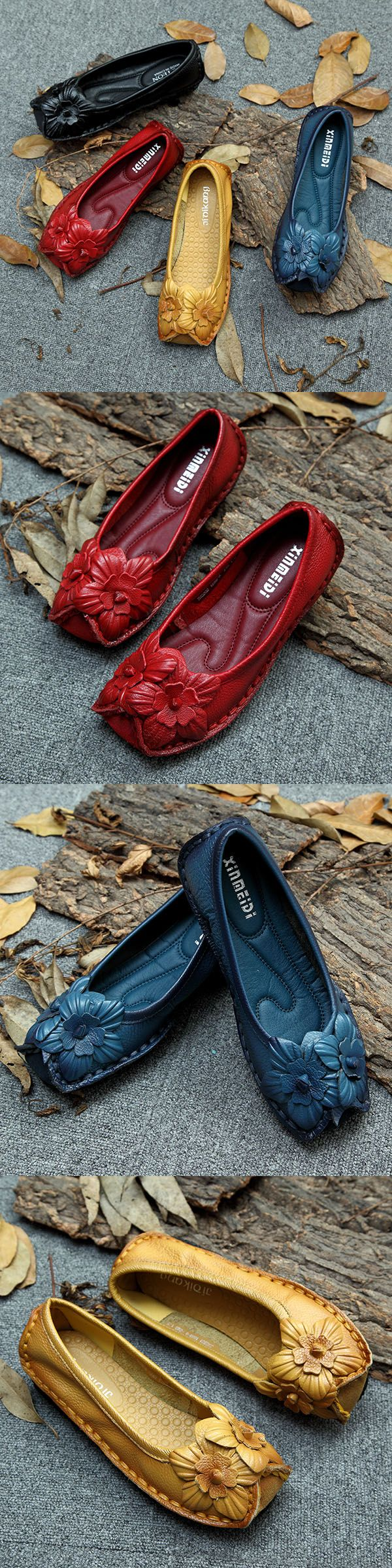 【51% OFF】Socofy Flower Decoration National Wind Soft Sole Retro Women Loafers_Handmade Leather Flats_Flower Women Shoes