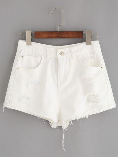 Pantalones cortos denim con rotos bajo sin rematar -blanco